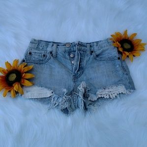 We The Free Distressed Lace Detail Shorts